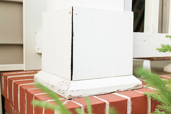 Cracked Porch Column Trim Needs Caulk