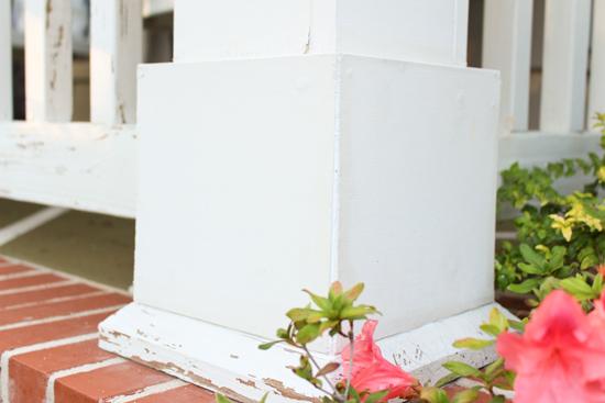 White Porch Column After Caulking Crack Gap