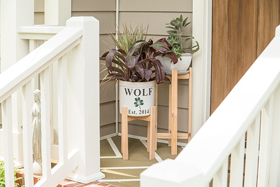 Cedar Planter Stand on Front Porch with Stained Wood Door