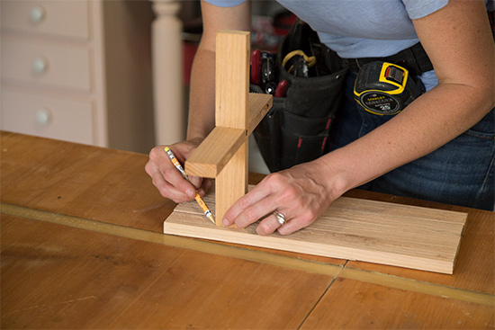 Measuring and Marking Cedar Wood Planter Stand Project on Workbench Tabletop