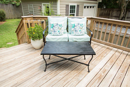 Aqua Teal Outdoor Cushions on Natural Wood Deck