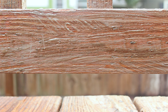 Behr Wood Deck Stain Stripper Applied to 2x4 Handrail