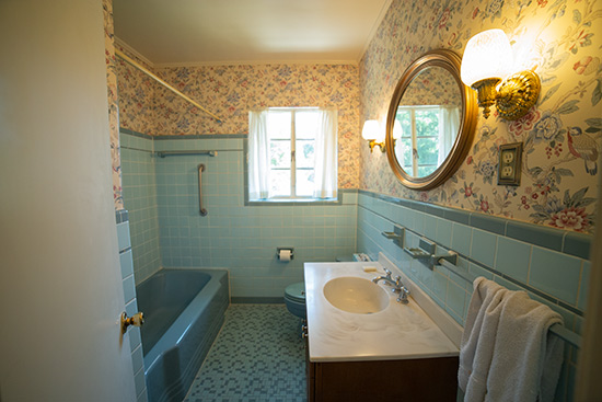 1950s Bathroom with Blue Wall Tile Tub and Toilet
