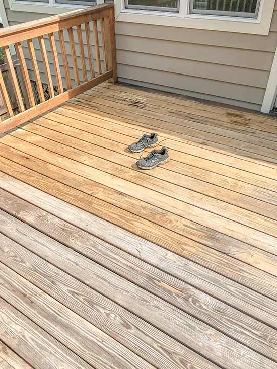 Large Section of Deck Stain Removed from Wood Deck