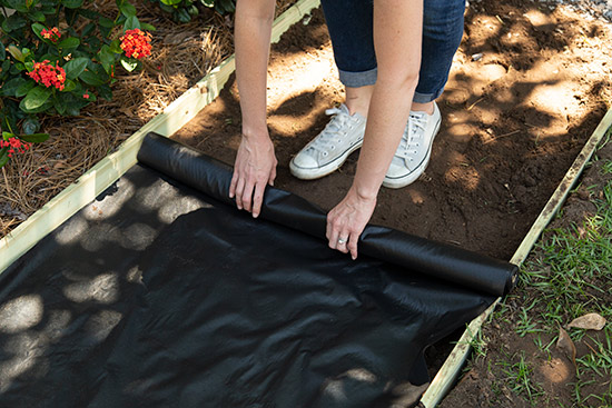 Rolling Out Landscape Fabric on Top of Dirt in Walkway