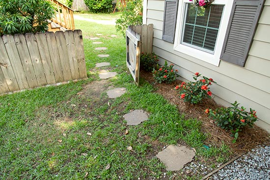 Stepping Stone Pathway from Driveway to Gate