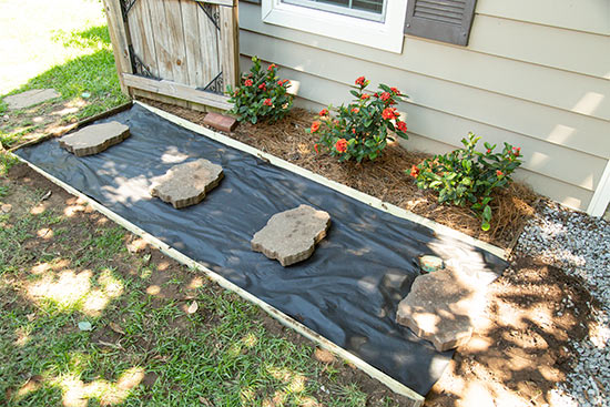 Stepping Stones in Place on Top of Landscape Fabric