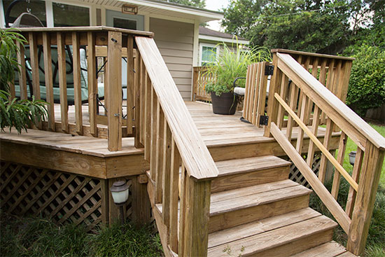 View of Wood Deck from Side of Stairs
