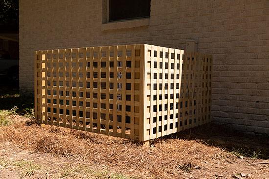 DIY Checkerboard Lattice Panels to Cover HVAC