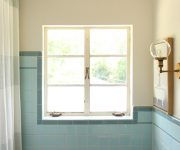 Frosted Windows in Blue Tiled Bathroom
