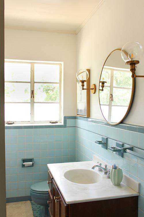 Retro Blue Bathroom with Modern Updates