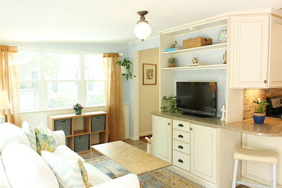 Sunny Room with Built-Ins Staged for Selling