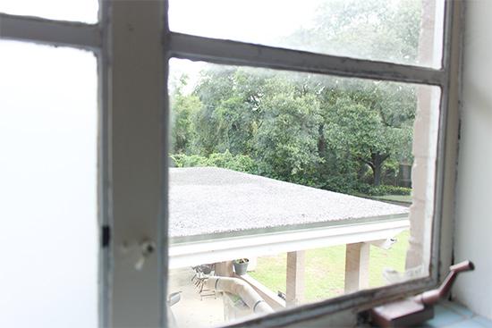 View Outside of Bathroom Window Before Film