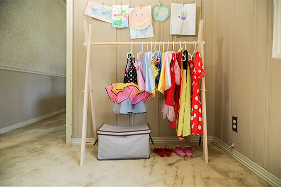 Clothes Rack for Dress Up and Costumes in Kid Playroom