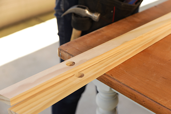Dowel Holes Drilled on 1x2 Legs for Clothes Rack