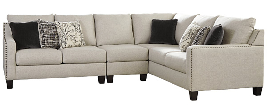Ashley Furniture Tan Upholstered Sectional with Nail Head Trim