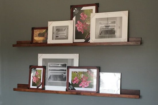 Stained Wood Floating Picture Ledge Shelves
