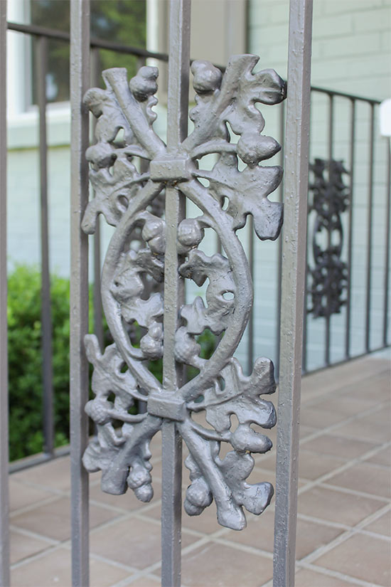 Acorn Wrought Iron Handrail After Painting Anodized Bronze