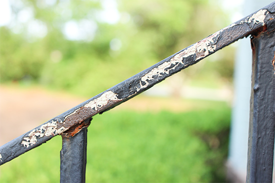 Rusting and Peeling Wrought Iron Handrails