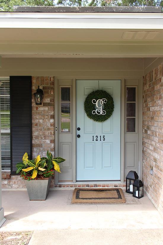 Boxwood Wreath Front Door Paint Makeover