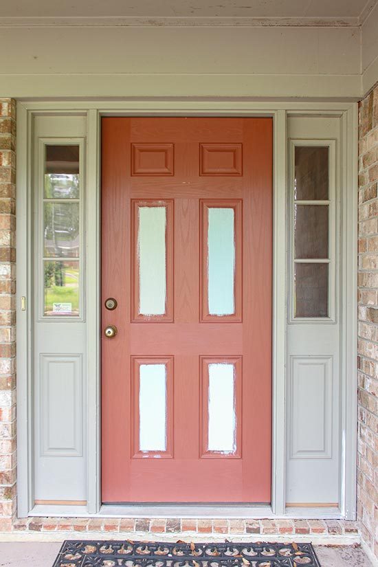 Red Front Door with Paint Samples Before Makeover