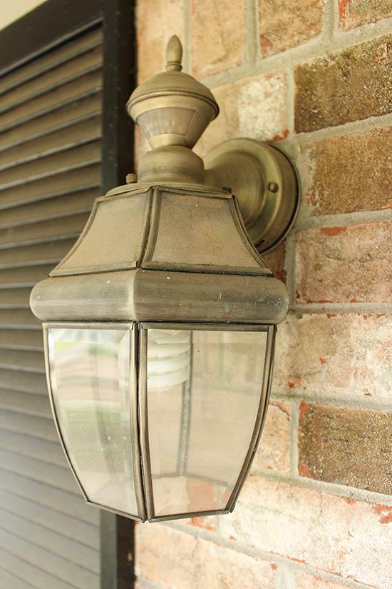 Tarnished Brass Lantern Wall Sconce