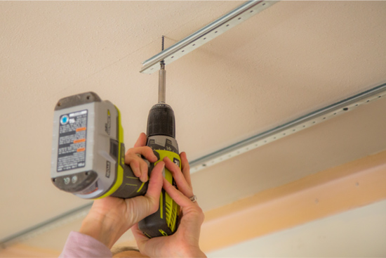 Attaching Armstrong Track to Ceiling with Drill and Drywall Screw