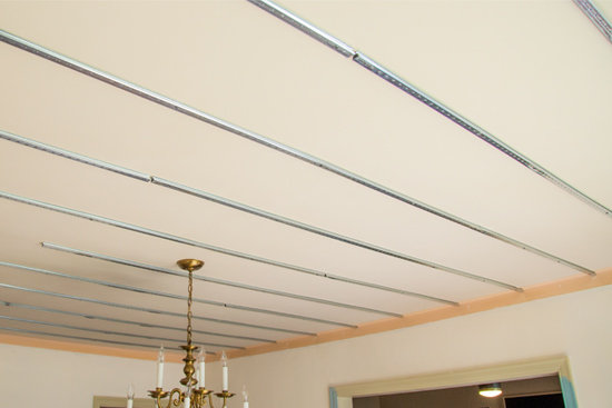 Track Installed on Plaster Dining Room Ceiling