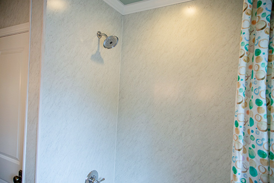 Completed Wall Panel with Showerhead and Curtain
