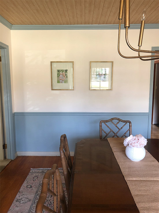 Dining Room with Painted Trim White Walls Wood Ceiling