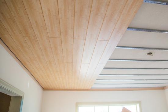 Progress on Bamboo Printed Wood Decorative Plank Ceiling