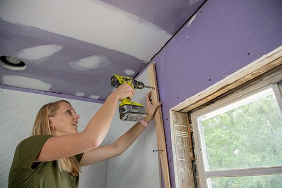 Propping Wall Panels While Adhesive Sets