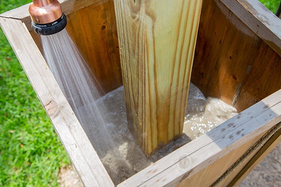 Adding Water to Concrete Around String Light Post