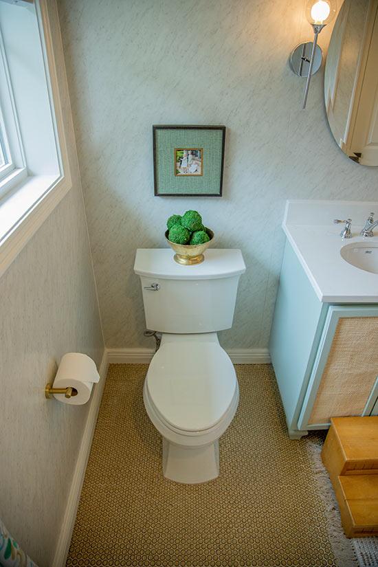 White Toilet Installed in Modern Retro Bathroom