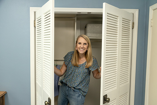 Posing with Closet Doors After Makeover